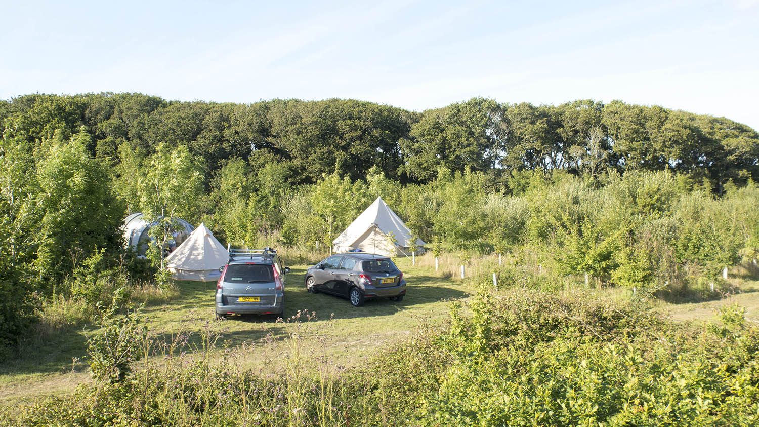Low level aerial view of the campsite